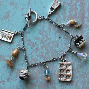 Silver baker charm bracelet